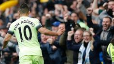 Chelsea 0 Manchester City 3: Sergio Aguero celebrates the fact that he has scored 12 goals in the last 12 games