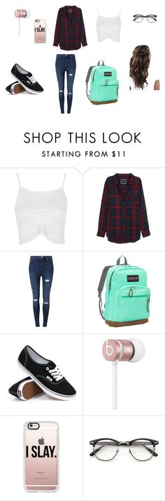 """""""tipical school day"""" by nancymedrano on Polyvore featuring Topshop, Rails, Miss Selfridge, JanSport, Vans, Beats by Dr. Dre and Casetify"""