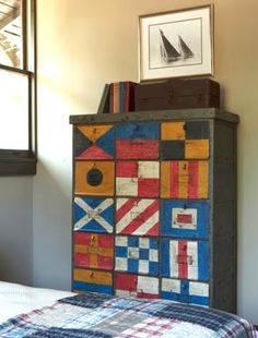 International Signal Flags hand painted onto a chest - could be painted on storage boxes for an Ikea Expedit for a very cool storage/convo piece. Nautical Flags, Nautical Home, Vintage Nautical, Nautical Style, Painted Furniture, Home Furniture, Deco Marine, Lake Cottage, Coastal Cottage