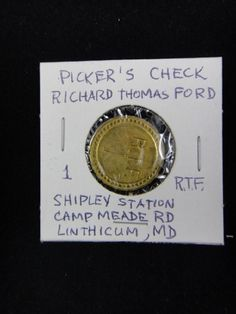 Lot 122: Richard Thomas Ford Picker's Check - Chumney House Auctions, LLC | AuctionZip