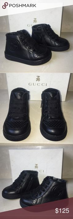 Gucci signature baby boy sneakers tennis shoes 4 Authentic Gucci signature leather baby boy sneakers high top tennis shoes sz infant 4 excellent condition with light marks - I have 3 other pairs listed (box not included) Gucci Shoes Sneakers