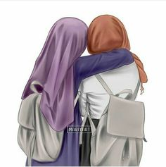 Shared pin anyone Friend Cartoon, Friend Anime, Girl Cartoon, Best Friend Drawings, Girly Drawings, Hijab Anime, Muslim Pictures, Hijab Drawing, Islamic Cartoon