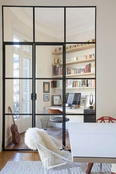 Interior french doors add a beautiful style and elegance to any room in your home. Office Interior Design, Office Interiors, Design Interiors, Design Offices, Design Case, Interior Architecture, Small Spaces, Living Spaces, Living Room