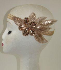 Rose Gold Nude Beaded Headband Headpiece Vintage 1920s Great Gatsby Flapper S64 - £9.95 + £2.99