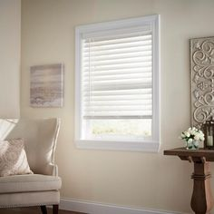 Home Decorators Collection White Cordless 2-1/2 in. Premium Faux Wood Blind - 18.5 in. W x 72 in. L (Actual 18 in. W x 72 in. L)