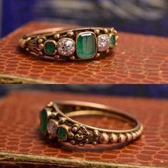 Regency Period Emerald & Diamond Filigree Ring Source by mariayman Jewelry Gold Ring Designs, Gold Bangles Design, Gold Earrings Designs, Gold Jewellery Design, Necklace Designs, Or Antique, Antique Rings, Antique Jewelry, Vintage Jewelry