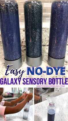 How To Make An Easy No-Dye Galaxy Sensory Bottle For Kids Sensory Bottles, Sensory Bins, Sensory Activities, Toddler Activities, Learning Activities, Sensory Table, Toddler Learning, Sensory Play, Activities For 2 Year Olds