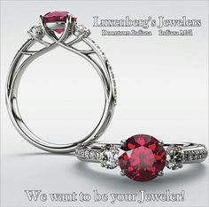 Beautiful red ruby and diamond ring!  Luxenberg's... We want to be your Jeweler! www.luxenbergs.com