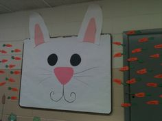 Easter bunny bulletin board. Carrots have student names on them