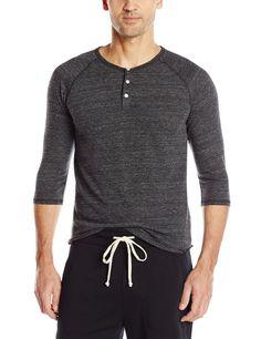 Alternative Men's Raglan 3/4 Sleeve Henley Shirt at Amazon Men's Clothing store: