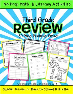 80 page no prep printable packet designed for summer review for third graders. Perfect way to review and prevent the summer slide before fourth grade starts in the fall. 50 math activities and 30 literacy activities. $