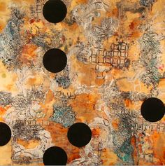 Lorraine Glessner, 2011  Mixed Media, Encaustic on rusted and branded silk on wood