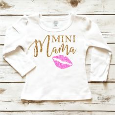 Mini Mama Toddler Girl Sparkle Shirt in Gold Glitter and Pink Glitter.