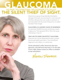 Glaucoma: the SILENT THIEF of VISION Do yourself and your family a favor - get an eye exam...especially if this runs in your family.