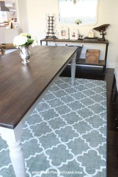 DIY Drop Cloth Rug - doing this under the dining room table ...