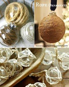 DIY Rope Ornaments: http://www.completely-coastal.com/2014/11/handmade-coastal-beach-christmas-ornaments.html
