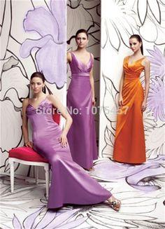 >> Click to Buy << New Arrival Lavender Bridesmaid Gowns 2015 V Neck Elegant Long Junior Dress For Party Sheath Satin Vestido De Festa Longo MB577 #Affiliate