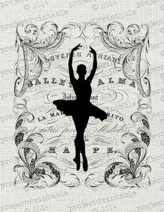 Ballet Dancer Fabric Transfer image - Instant download digital printable clipart - Ballerina graphics for dance bag, t-shirt, tote, cushion