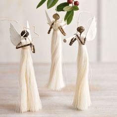 Handmade angel ornaments - set of three hand made angels Handmade Angels, Handmade Ornaments, Handmade Christmas, Christmas Angels, Christmas Tree Ornaments, Christmas Time, Christmas Wreaths, Angel Crafts, Xmas Decorations