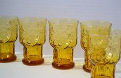 Vintage Libby Country Garden Daisy Amber Glass Set by PanchosPorch, $24.00