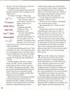 """American Girl Magazine - January 1993/February 1993 Issue - Page 15 (Part 5 of """"A Most Exceptional Bridesmaid"""" - A """"Samantha Parkington"""" Story by Valerie Tripp for American Girl)"""