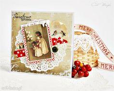 Vintage kartka świąteczna scrapbooking kartki magdalenamatraszek