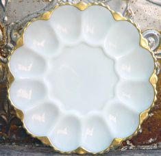Fire King Milk Glass Deviled Egg Plate Gold by SurrenderDorothy, $19.89
