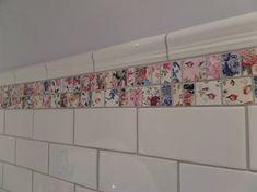 Vintage Patchwork Chintz Mosiac Border Tile in Home, Furniture & DIY, DIY Materials, Flooring & Tiles Cheap Bathroom Tiles, Small Bathroom Paint, Ceramic Tile Bathrooms, Mosaic Bathroom, Kitchen Wall Tiles, Laundry In Bathroom, Bathroom Wall, Downstairs Cloakroom, Brick Tile Wall
