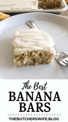 The BEST Banana Bars you will ever eat! Sweet, moist and full of delicious banana flavor with a smooth cream cheese frosting Banana Recipes Easy, Ripe Banana Recipe, Banana Dessert Recipes, Easy Banana Bread, Cake Recipes, Apple Bread, Banana Treats, Banana Snacks, Banana Brownies