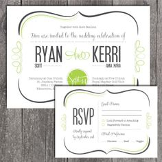 DIY Printable Wedding Invitation and Printable RSVP card. Modern Invite with swirl border.. $22.00, via Etsy.