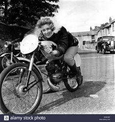 Stock Photo - Beryl Swain sitting on a motorbike 50cc Motorbike, Motorbike Girl, Motorcycle Girls, 2018 Color, Isle Of Man, Road Racing, Vintage Girls, Sport, Motorbikes