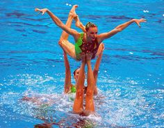 Russia on their way to winning Gold in the Womens Synchronised Swimming Team Free Routine Final at the Sydney International Aquatic Centre on Day 14...