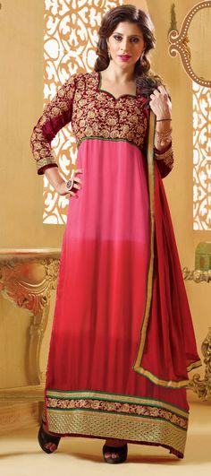 USD 36.95 Pink Georgette Churidar Suit 42760