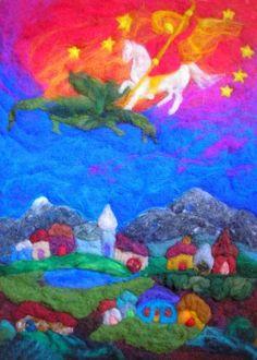 Waldorf ~ Michaelmas ~ Defeating the Dragon ~ (Wool felt art by David Kennedy - The Waldorf Book of Poetry)