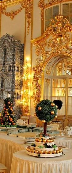 A dazzling room inside Catherine's Palace in St. Petersburg by Dittekarina