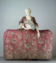 English Court Mantua c. 1740-5 from the VandA.  Made be Madame Leconte, actual maker Magdalene Giles- its signed in the train!