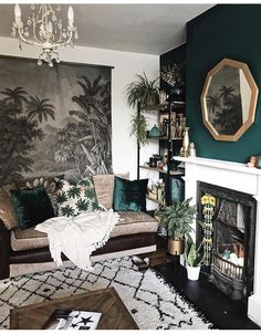 moody living room vibes // green accent wall // geometric gold mirror // white a., - moody living room vibes // green accent wall // geometric gold mirror // white a…, Home Interior, Interior Design Living Room, Living Room Designs, Interior Decorating, Decorating Ideas, Interior Ideas, Asian Interior, Japanese Interior, Interior Colors