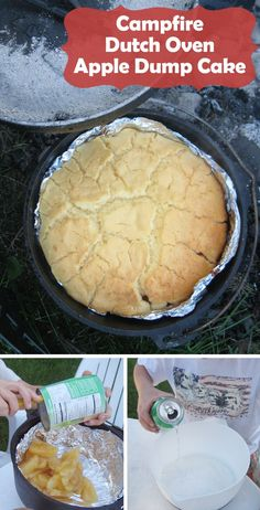 Campfire Dutch Oven Apple Dump Cake - so easy. Only three ingredients!