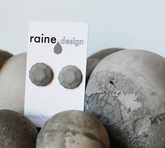 CONCRETE Gem Earring Posts Round Faceted Gem URBAN by RaineDesign, $14.00
