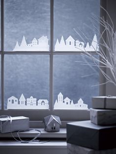 NEW Frosted Forest Window Stickers - Christmas Accessories - Christmas Decorations Simple Christmas, Winter Christmas, Christmas Home, Christmas Crafts, Decoration Vitrine, Christmas Window Decorations, Christmas Window Display Home, Christmas Accessories, Theme Noel