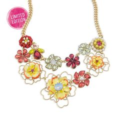 Hothouse Blooms Statement Necklace Limited Edition Get it before it is gone!   #flower #yellow #pink