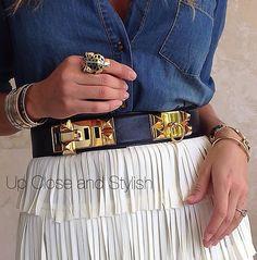 Chambray shirt, fringe skirt, Hermes CDC belt