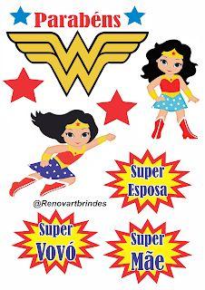 Renovart Brindes e Personalizados : DIY - Topo de Bolo Masha e o urso Wonder Woman Pictures, Thing 1, Alice, Cards, Women, Display, 3d, Deco, Baby Marvel