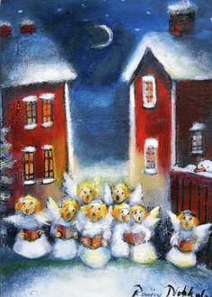 Raija Nokkala Christmas Illustration, Children's Book Illustration, Book Illustrations, Naive, Christmas Tale, Christmas Cartoons, Winter Art, Nocturne, Martini