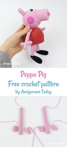 Peppa Pig - free crochet pattern : Crochet Peppa Pig free crochet pattern by Amigurumi Today Crochet Pig, Crochet Patterns Amigurumi, Cute Crochet, Crochet For Kids, Crochet Crafts, Crochet Toys, Crochet Projects, Crochet Animals, Doll Patterns Free