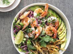 Grilled Shrimp Taco Bowl Chipotle's got nothin' on this taco bowl with creamy cilantro-yogurt dressing. Get the recipe: Grilled Shrimp Taco Bowl Easy Grilled Shrimp Recipes, Grilled Shrimp Tacos, Pork Rib Recipes, Grilled Meat, Seafood Recipes, Smoker Recipes, Grilling Recipes, Meat Recipes, Ways To Cook Shrimp