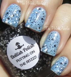 1 coat of Putting On The Ritzzz by Dollish Polish over Nicole by OPI Nothing Kim-pares to Blue // LOVE LOVE LOVE this, almost fell off the bed <3 <3 <3