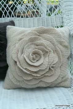This three dimensional rose pillow will add charm to any room of your home. I created it entirely from a felted upcycled neutral colored cable Sweater Pillow, Recycled Sweaters, Arts And Crafts, Diy Crafts, Sewing Pillows, Fabric Flowers, Wool Felt, Fabric Crafts, Sewing Projects