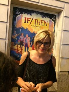 Jenn Colella at the Richard Rodgers Theatre signing Playbills for If/Then!