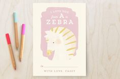 Valentine Zoo Zebra Classroom Valentine's Cards by Lori Wemple at minted.com #Minted #Valentines